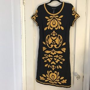 EUC Embroidered Black & Yellow Dress